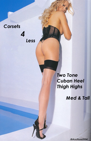Two Tone Cuban Heel Thigh Highs